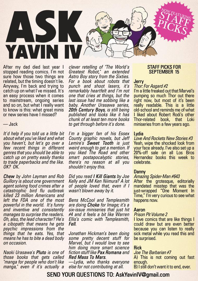 Ask Yavin IV #11 & Staff Picks